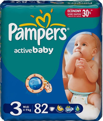 Подгузники Pampers Active Baby (Памперс Актив Беби) 4-9 кг 82шт