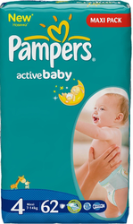 Подгузники Pampers Active Baby 7-14 кг 62шт