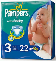 Подгузники Pampers Active Baby (Памперс Актив Беби) 4-9 кг 22шт