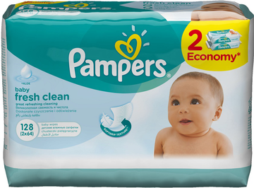 Салфетки Pampers Baby Fresh Clean (Памперс Фреш Клеан) 128шт