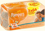 Салфетки Pampers Naturally Clean Duo 128шт